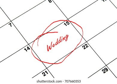 Wedding Circled on A Calendar in Red