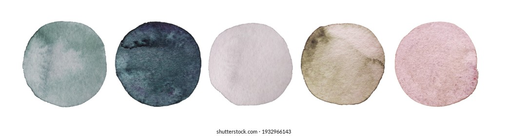 Wedding colors palette. Watercolor dots set. Hand painted Spots Isolated on white background. Circle Different color Example for guest clothing. For Wedding dress code card. Abstract bachground.