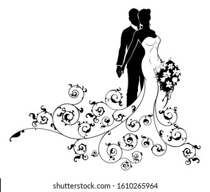 Wedding couple bride and groom silhouettes, the bride in a white bridal dress gown holding a floral bouquet of flowers and an abstract floral pattern