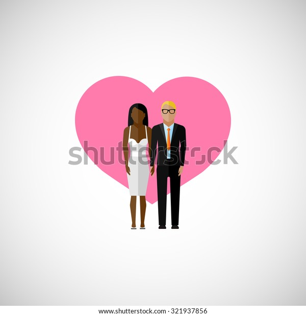 wedding couple.  flat illustration man and woman on the pink heart background. marriage concept