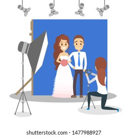 Wedding couple in the photostudio making photoshoot for memory. Happy beautiful bride and handsome groom. Various equipment such as camera and light. Flat  illustration