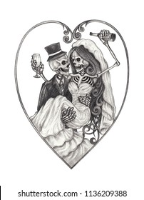 Demon Drawing Images Stock Photos Vectors Shutterstock Nananana batman u saw that comin. https www shutterstock com image illustration wedding couple skulls hand pencil drawing 1136209388