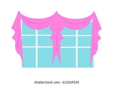 Wedding decoration element. Window decorated with wedding accessoires. Luxury decorated interior. Fashionable marriage concept. Special decorative attribute. in flat style illustration