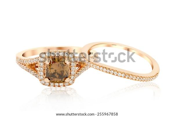 Wedding Diamond Rose Gold Ring isolated on white background
