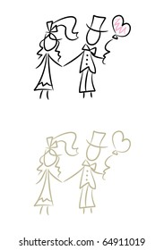 Wedding Doodles: Simple drawing of bride and bridegroom (two color versions included)