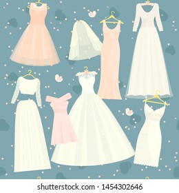 Wedding dresses set bride and bridesmaid white wear dressing accessories bridal shower celebration and marriage dressy fashion isolated illustration background