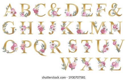Wedding floral alphabet with peonies and leaves. Hand drawn botanical illustrations. Isolated objects on white background. Elements for greeting cards and wedding invitation cards.