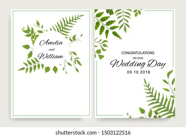 Wedding floral invite cards design with watercolor style deferent leaves