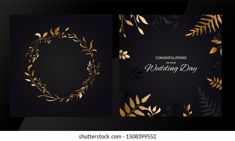 Wedding floral set invite cards design with golden leaves style. Circle gold .