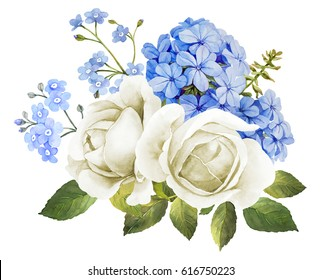 Wedding flower bouquet in blue and white