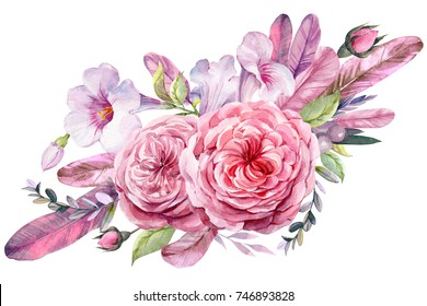 Wedding flowers, bridal bouquet closeup. Bouquet of roses, feathers, leaves  Illustration in vintage watercolor style