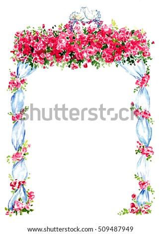 Royalty Free Stock Illustration Of Wedding Gazebo Decorated Red