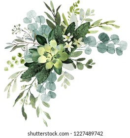 Wedding greenery frame. Watercolor illustration with eucalyptus.