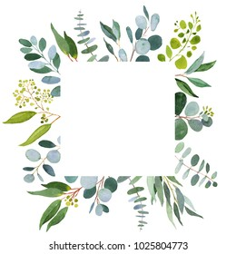 Wedding greenery template. Watercolor illustration with eucalyptus.