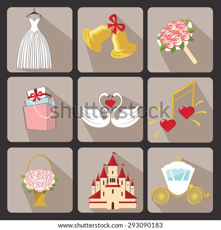 wedding icons for web and mobileset of bridal shower wedding itemssymbols