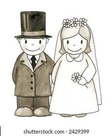 wedding illustration on white background