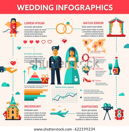 Wedding Illustrative Template Layout Set With Infographic Elements Of Nuptial Process Made In Flat Design And