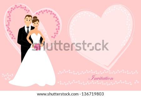 wedding invitation bride groom dark brunette stock illustration