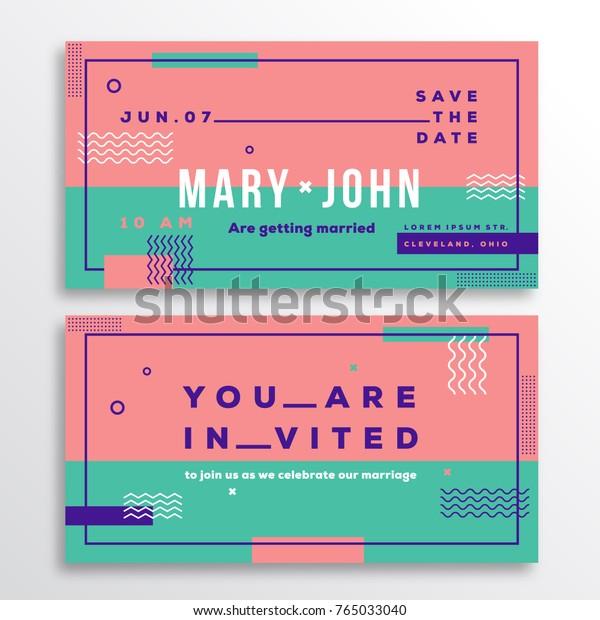Wedding Invitation Card Template Modern Abstract Stock