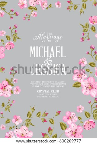 wedding invitation card template spring flowersのイラスト素材