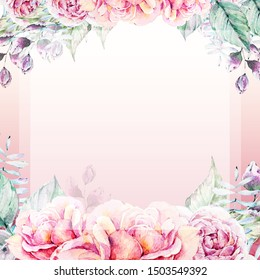 Wedding Invitation. Elegant floral frame, modern card in roses, peonies, leaves, berries. Lovely branches decorative on pink gradient background. Baby shower card template
