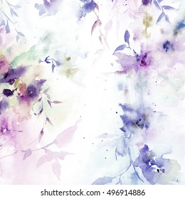 Wedding invitation with floral design. Watercolor floral bouquet. Floral background. Birthday card.