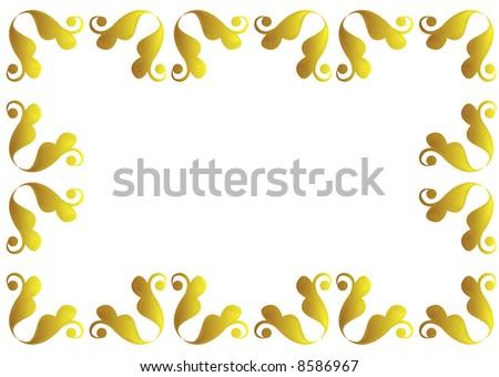 Wedding Invitation Gold Victoriana Border Design Stock Illustration