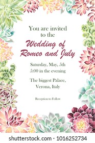 Wedding invitation with hand drawn watercolor succulents