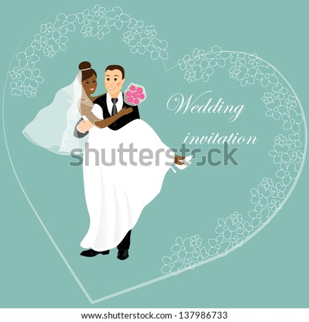 Wedding Invitation International Couple Caucasian African Stock