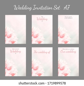 Wedding invitation set A7, pink tulips, vertical, optional sizes. Greeting or invite card, elegant clear design template, light blur background.