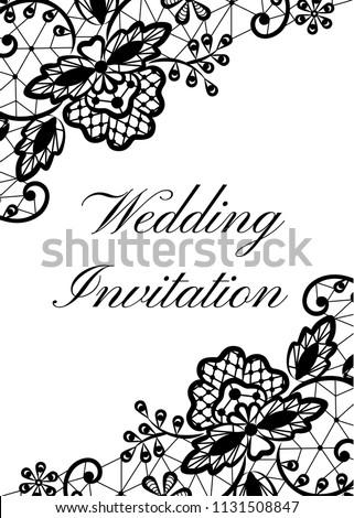 Wedding Invitation Template Black Lace Border Stock Illustration