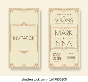 wedding invitation template set art deco and arabic line style with frame gold color for greeting card. Illustration
