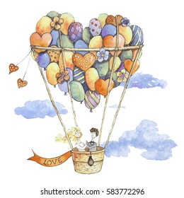 Wedding on the air balloon with hearts,  flowers, clouds, bride and groom. Hand drawn watercolor illustration.