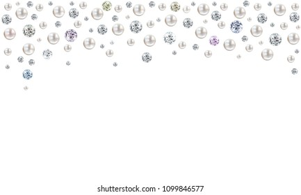 Wedding pearl illustration background with many small and big white shiny nacreous pearls and diamonds raining from top of page - space for your text