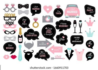 Wedding photo booth props. Bride and groom party. Photobooth set - lips, glasses, bow, arrow, ring, cake, heart. Black and pink speech bubble with quotes for marriage.
