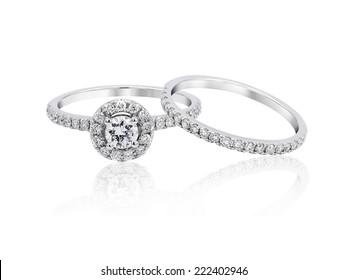 Wedding platinum diamond ring isolated on white background