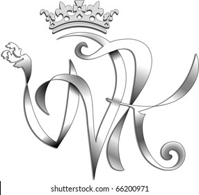 The Wedding of Prince William and Kate. This simple but elegant design features the initials intertwined with a crown above on a white background