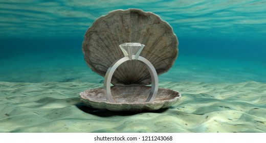 Wedding proposal. Diamond ring in an oyster shell underwater, on the seabed. 3d illustration