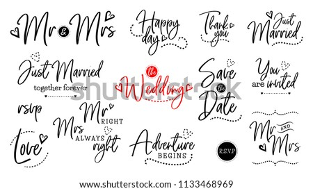 Wedding Quote Script Lettering Set Marriage Stock Illustration