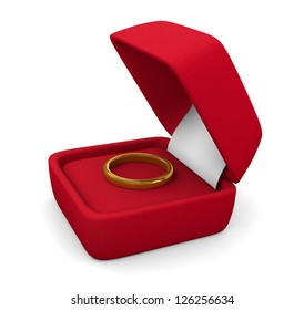wedding ring in box on white background