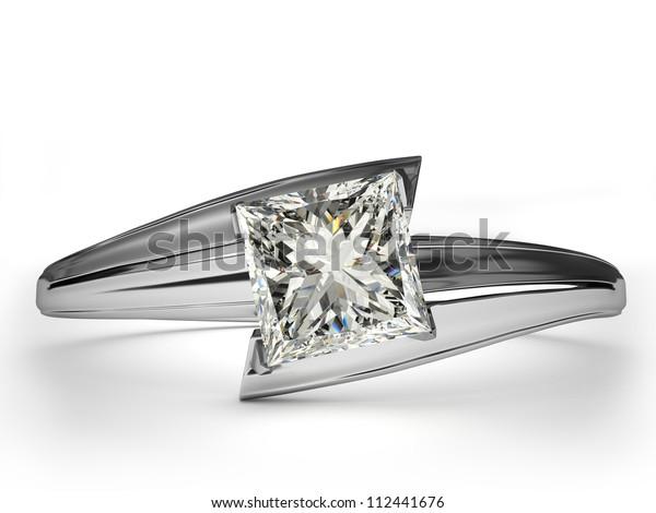 Wedding Ring Gift Isolated Close White Stock Illustration 112441676