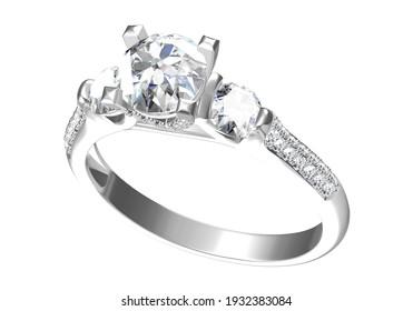 Wedding ring on white background. 3D rendering