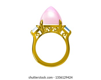 Wedding ring on white background.3D rendering
