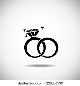 Wedding Rings Vector Icon On White Stock Vector Royalty Free