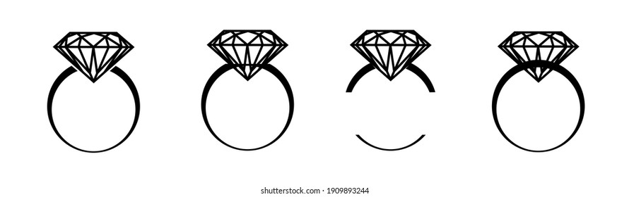 Wedding rings isolate, engagement, diamond rings set - rings logo with a simple line in black on a white background. High quality illustration for diy, commercial use.