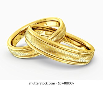 wedding rings isolated on a white background