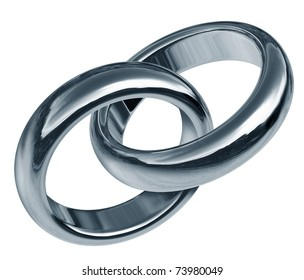 Wedding rings linked together representing the concept of eternal love and the start of a new life and relationship.