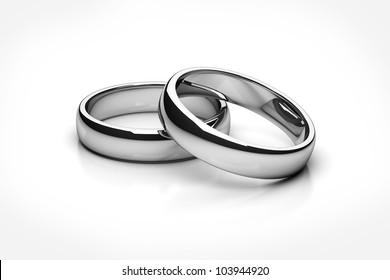 wedding rings Platinum isolated on white background