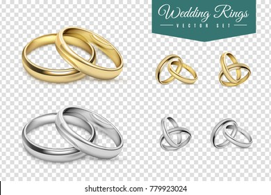Wedding rings set of gold and silver metal on transparent background isolated  illustration