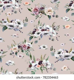 Wedding seamless pattern white and purple flowers ornament